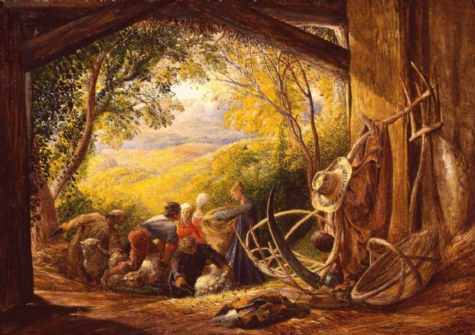 Palmer, Samuel: The Shearers. Landscape/Farming Fine Art Print.